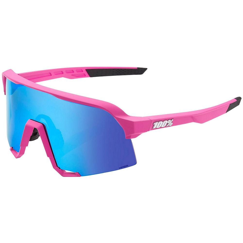 100% S3 Matte Pink Sunglasses - Hiper Blue Lens, Hiper Blue Lens