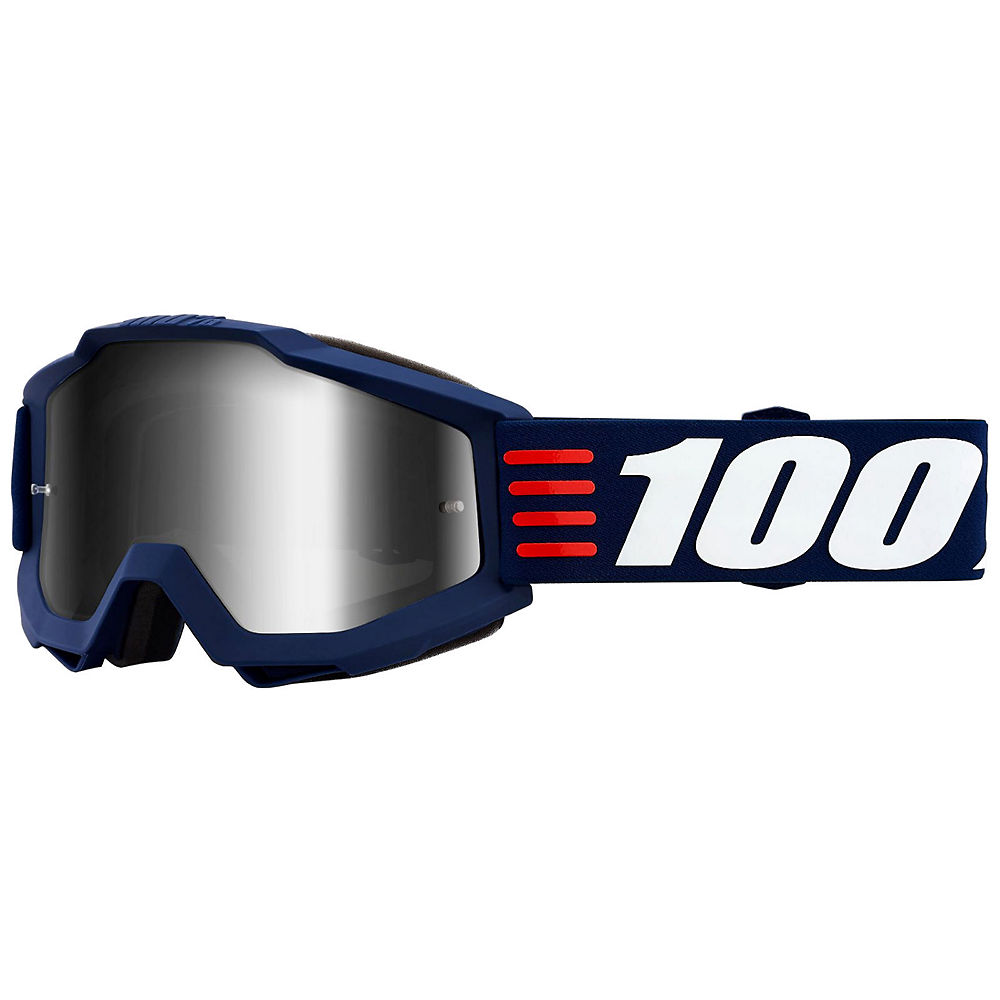 100% Accuri Goggle Art Deco Mirror Lens - dark blue-white logo, dark blue-white logo