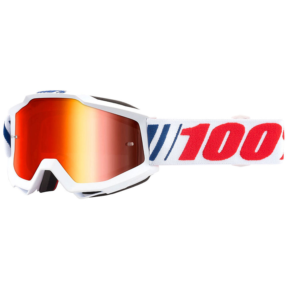 100% Accuri AF066 Mirror Red Lens Goggles - white-red logo, white-red logo