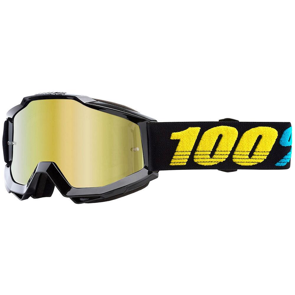100% Accuri Virgo Mirror Gold Lens Goggles - black-yellow logo, black-yellow logo