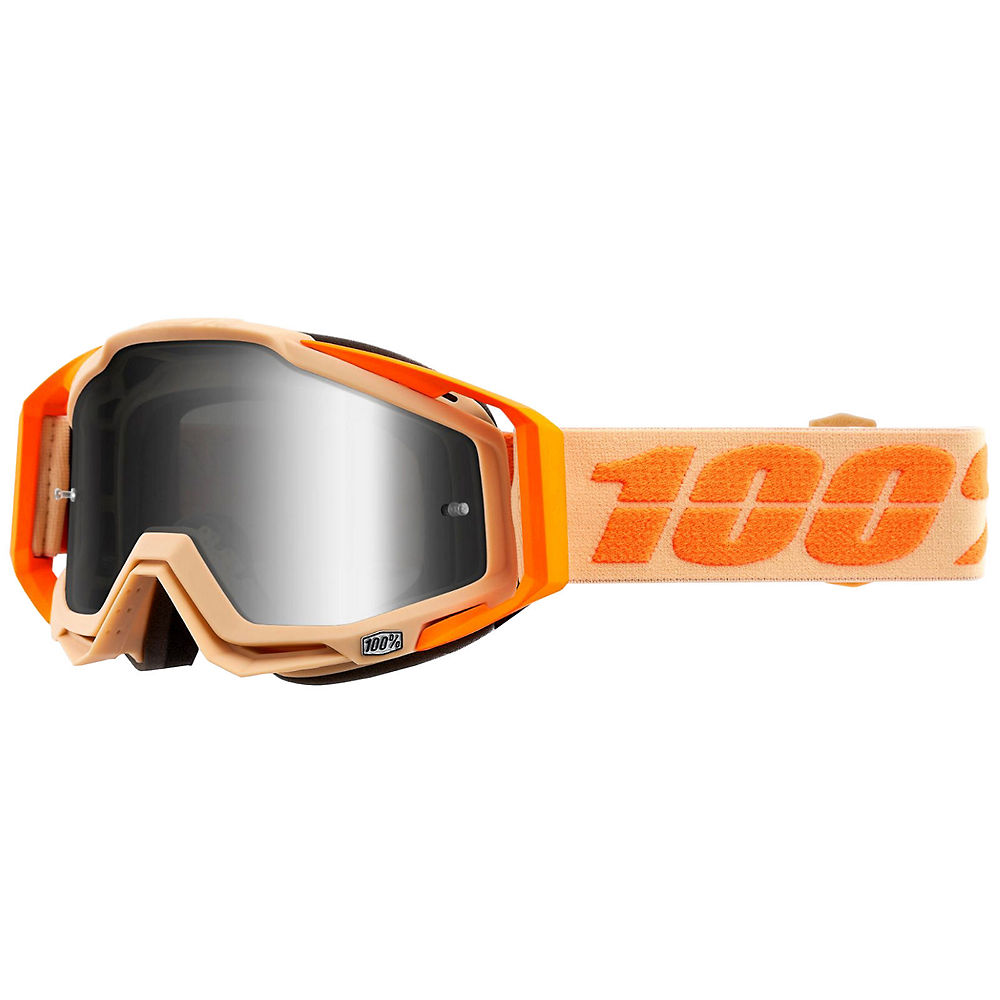 100% Racecraft Goggle Silver Mirror Lens - Orange, Orange