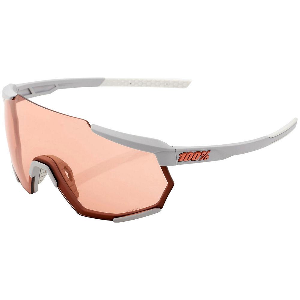 100% Racetrap Soft Tact Grey Hiper Sunglasses - White, White