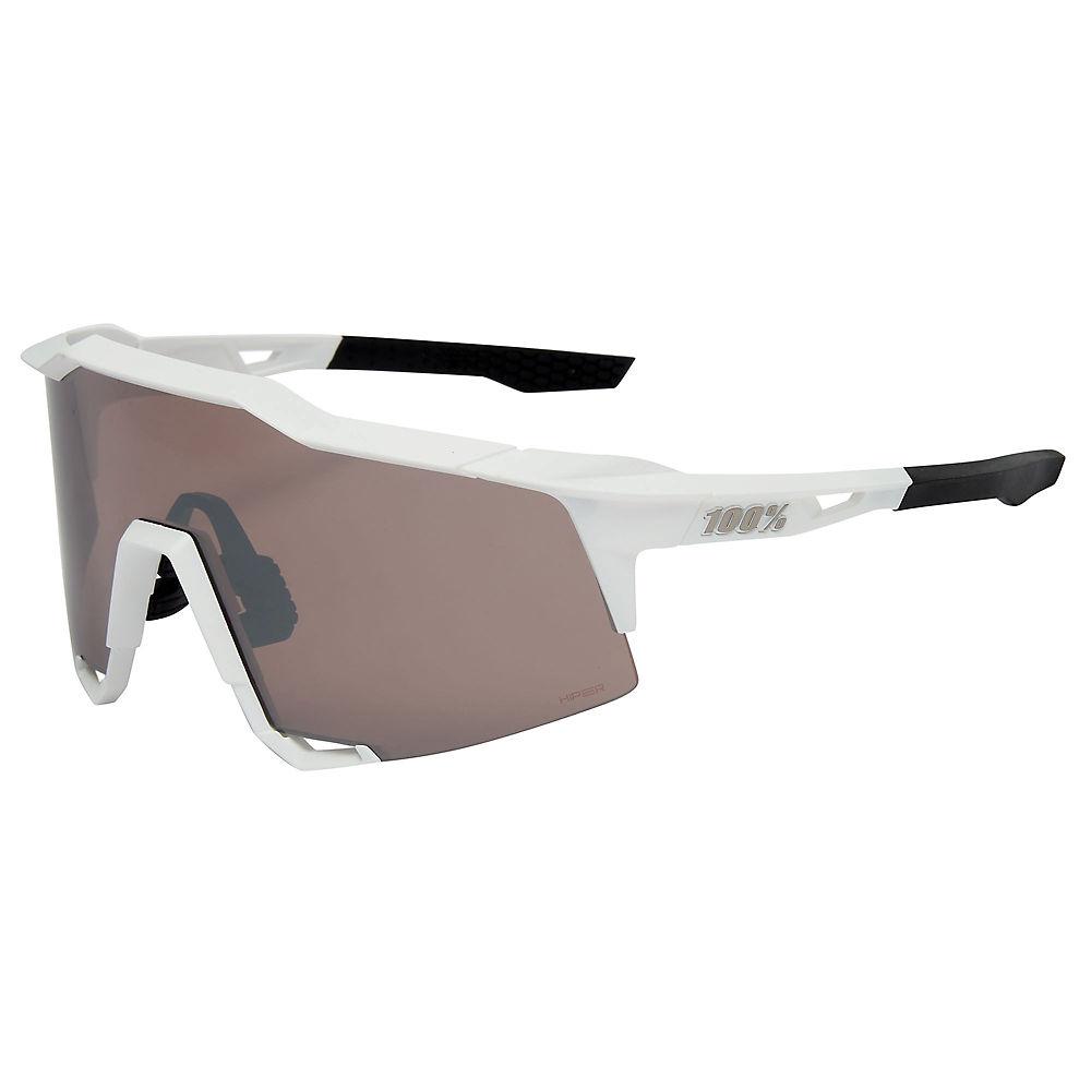 100% Speedcraft Matte White Mirror Sunglasses, White