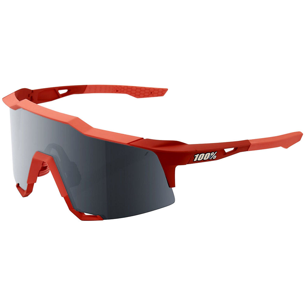 100% Speedcraft Soft Tact Coral Sunglasses - Red, Red