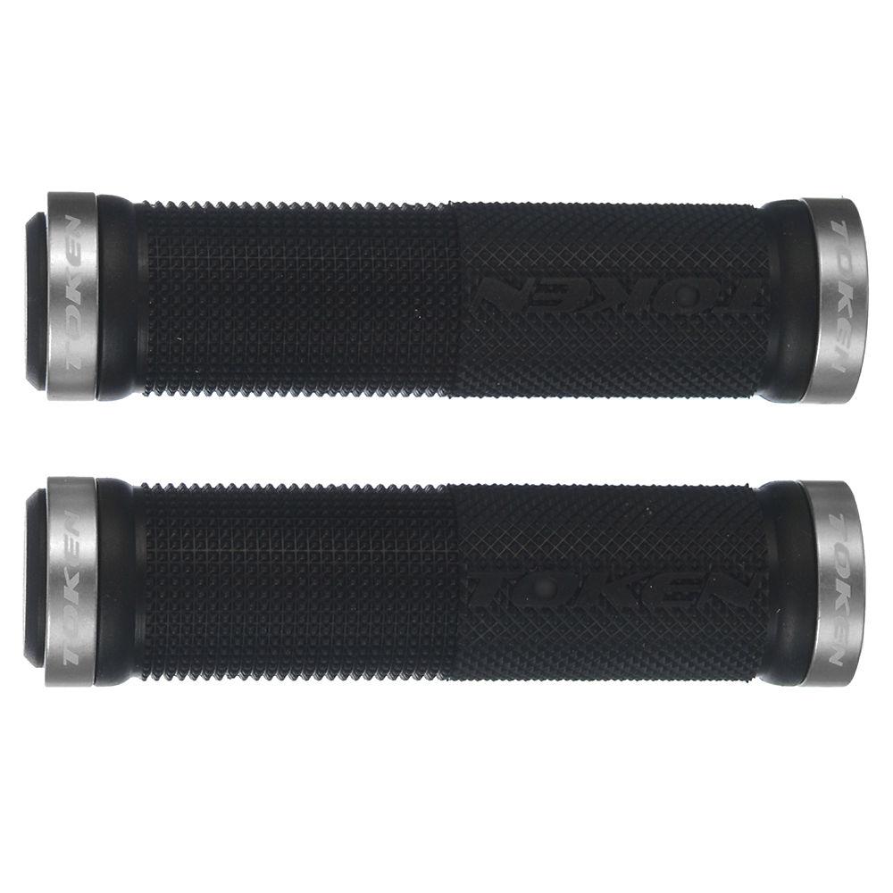 Token Double Lock On Mountain Bike Grips - Silver - 130mm  Silver