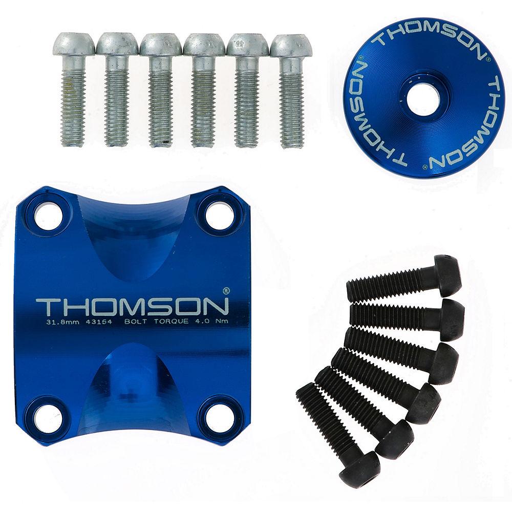 """Image of Kit de Potence VTT Thomson X4 - kit de mise à jour de fixation, capuchon et vis - Bleu - 1.1/8"""""""