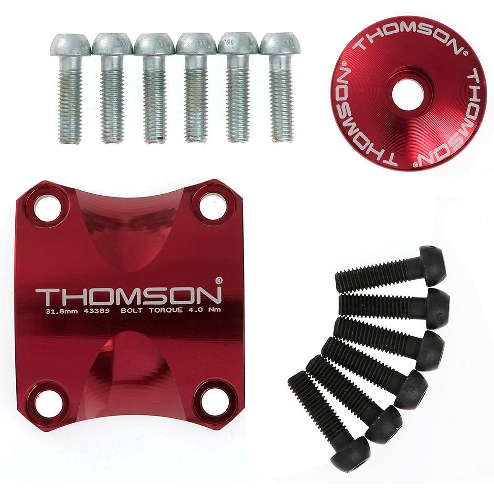 """Image of Kit de Potence VTT Thomson X4 - kit de mise à jour de fixation, capuchon et vis - Rouge - 1.1/8"""""""