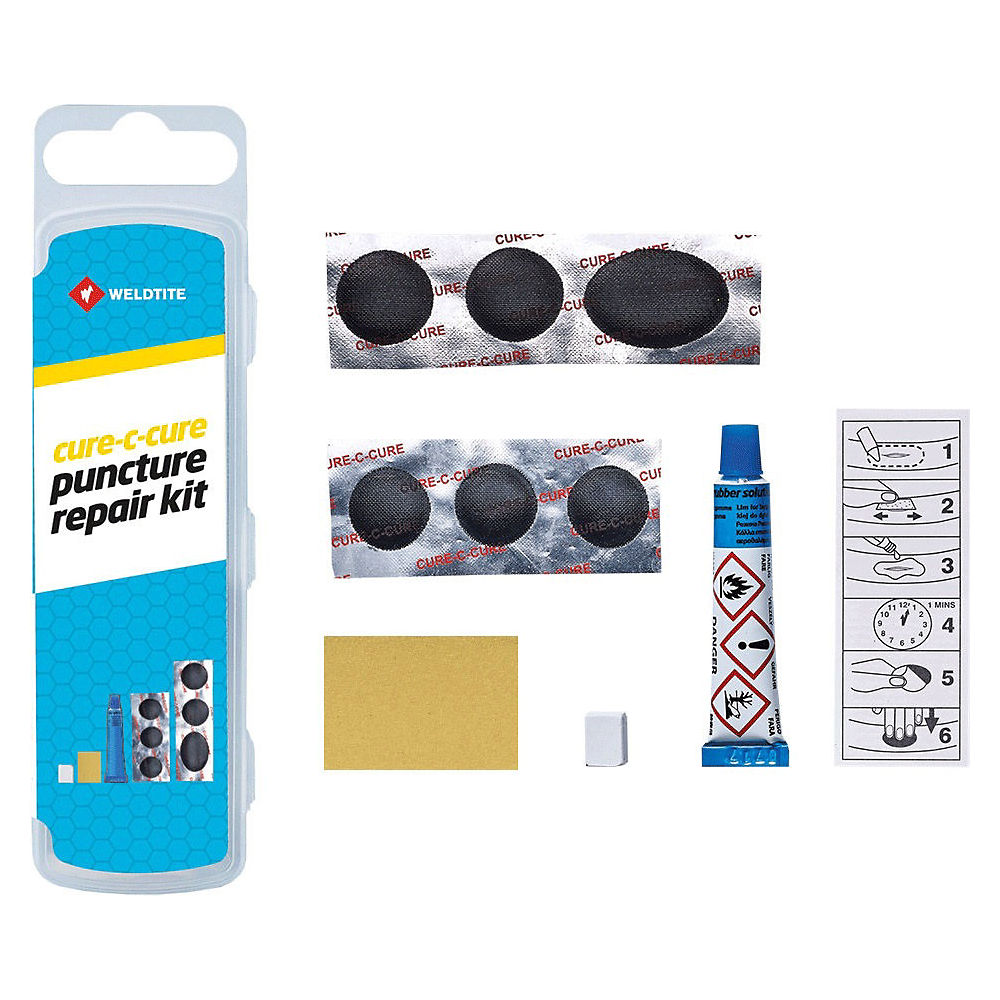 Weldtite Cure-C-Cure MTB Puncture Repair Kit - Blue - 10 Piece, Blue