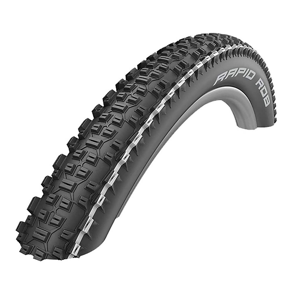 Schwalbe Rapid Rob MTB Tyre - K-Guard - Black - White Stripe - Wire Bead, Black - White Stripe