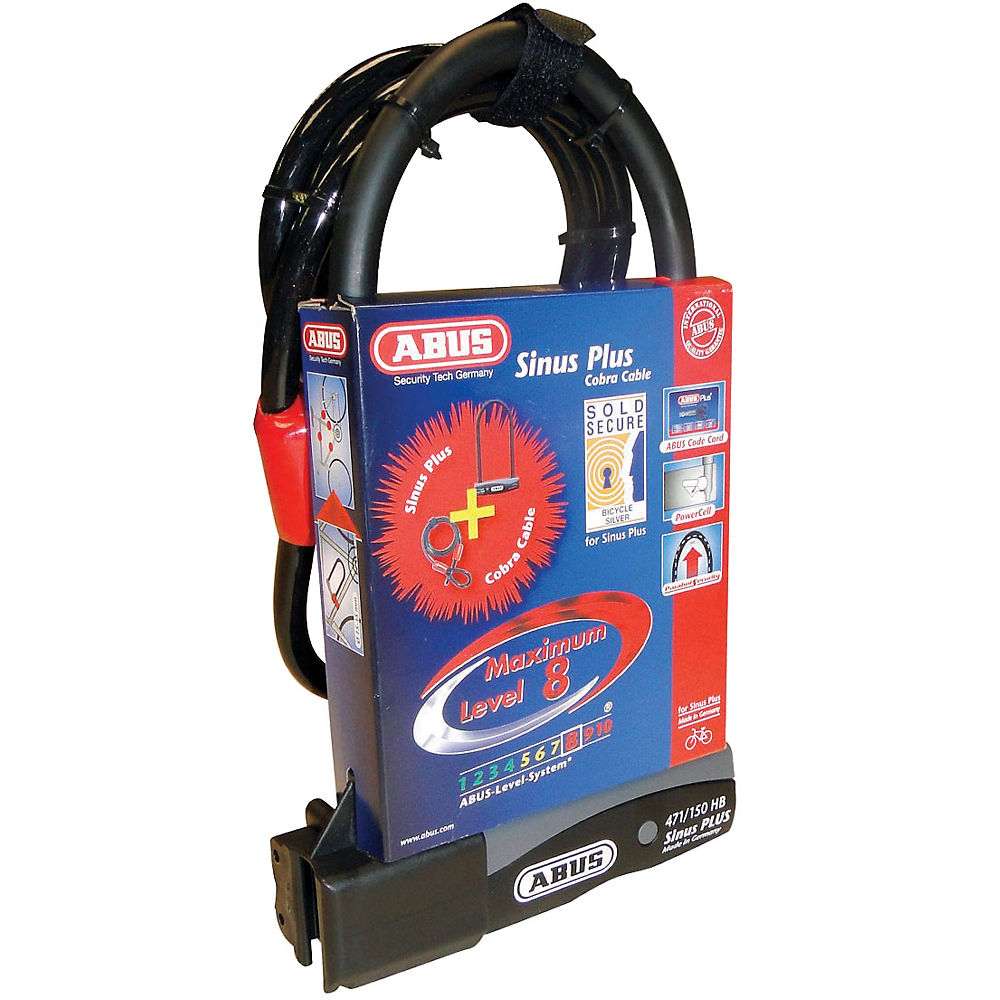 Abus Sinus Plus 230 USH D-Lock & Cable Set - Black - Sold Secure Silver Rated, Black