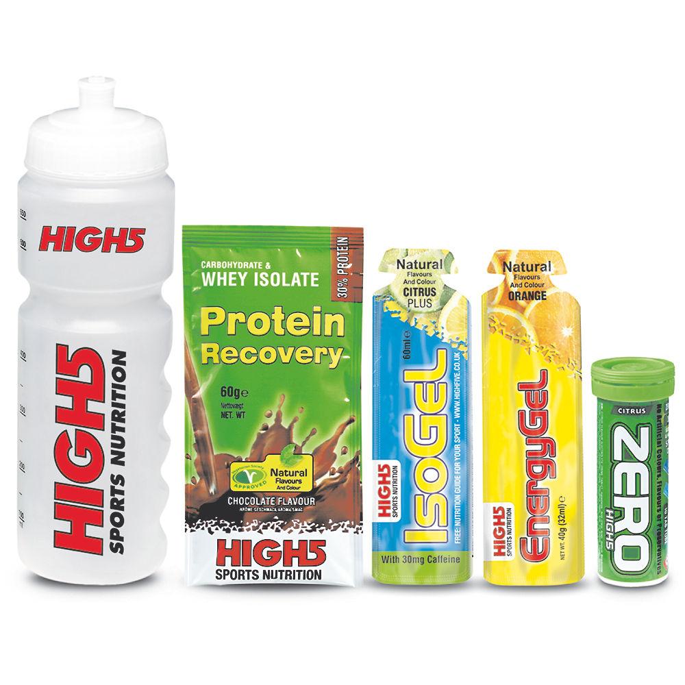 Conjunto de productos para el día de competición y bidón High5